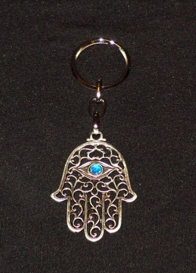 Silver Hamsa - Blue Eye Gem Evil Eye Key Chain Prayer 8