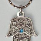 Silver Hamsa - Blue Eye Gem Evil Eye Key Chain Prayer 3