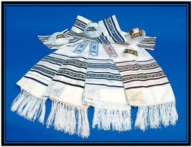 Best CHAIN JEWISH TALLIT PRAYER SHAWL S24 JUDAICA ISRAEL
