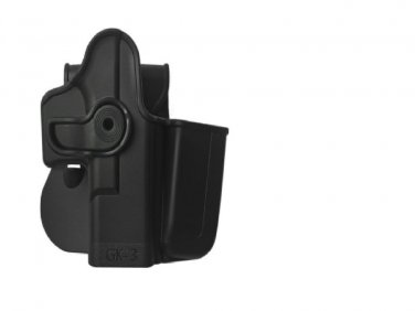 IMI BLACK Polymer Retention Holster + Integrated Magazine Pouch Compatible with Glock 28 Gen 4