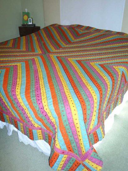 Handmade King Size Quilt~ Festive Colors!