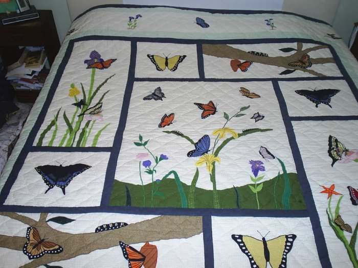 Handmade and Hand-Pieced King Size Butterfly Quilt