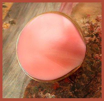 UNSUAL Shaped 50's PINK Glass Moonglow Button
