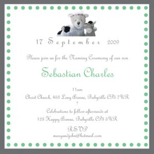 10 Christening/Baptism/Naming Ceremony Invitations With Matching FREE  Thank You Cards