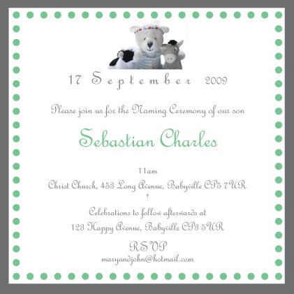 10 Christening/Baptism/Naming Ceremony Invitations with matching FREE Thank-You Cards