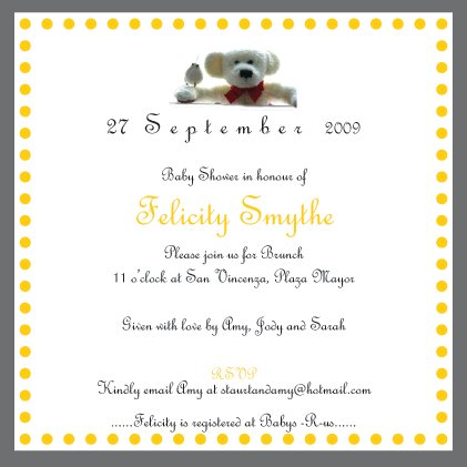 10 Baby Shower/Naming Ceremony/Christening Invitations - FREE matching Thank-you cards