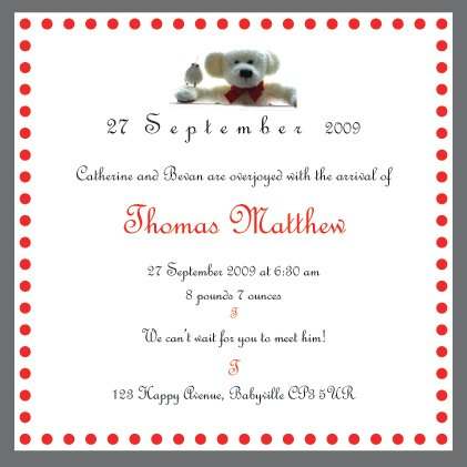 10 New Arrival Announcements and Christening Invitations with matching FREE Thank-You Cards