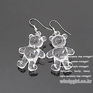 E097 vintage inspired CRYSTAL  TEDDY BEAR earrings animal toy (Mod Express online shop accessories)