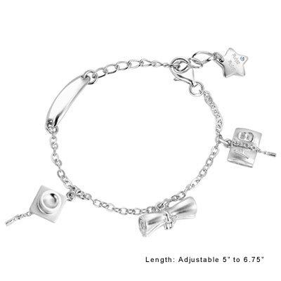 GRAD GIFT Star Bracelet Platinum Plated 925 Silver ROCK