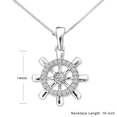 Ship Boat Compass Sailor  White Gold Diamond Necklace