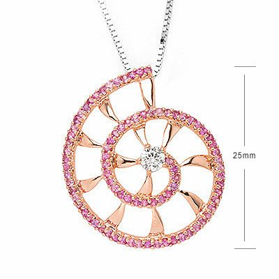 SHELL Pink Sapphire Diamond Necklace Party Disco Gift