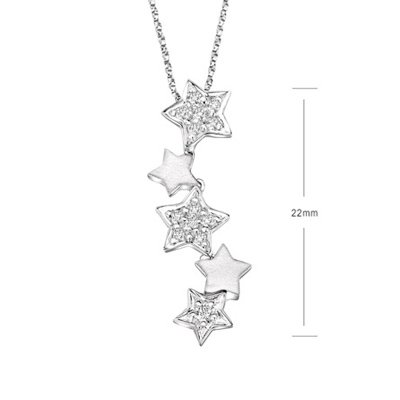Lucky STAR STUNNING White Gold Diamond Necklace Pendant