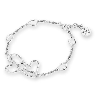 Double Heart Lover Bracelet Platinum Plated 925 Silver