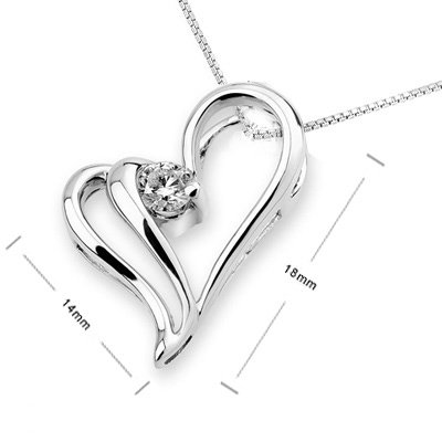 0.13 Ct Heart White Gold Diamond Necklace Lover gift