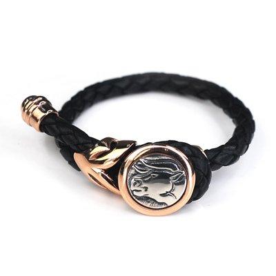 Taurus Leather Female Female Bangle / Bracelet (Rose Golden Buckle)  Silver King