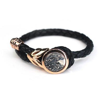 Aquarius Leather Female Bangle / Bracelet (Rose Golden Buckle) - Silver Kings