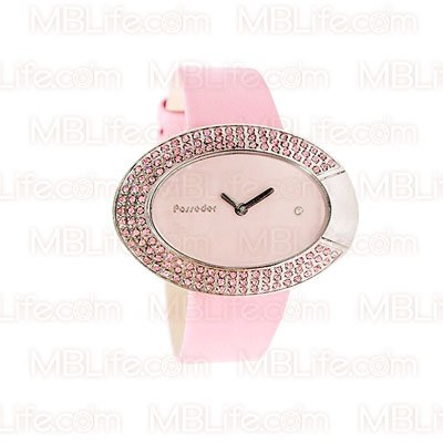 Baby Pink Babydoll Retro Crystal Genuine Leather Watch