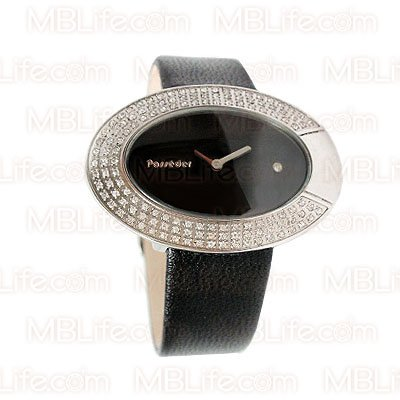 Vintage Style Retro Crystal Black Leather Lady Watch