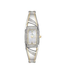Bulova 98L128 Bangle Crystal Accented Women's Watch