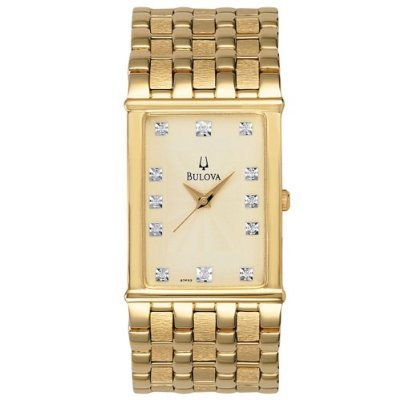 Bulova 97F52 Diamond Accented Gold Tone Men's Watch