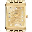 Bulova 97D102 Gold Square 12 Diamond Dress Men's Watch