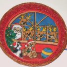 Cloth Lined Fern Woven Christmas Basket Santa and Reindeer