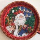 Santa Holiday Gift Basket Cloth Lined Fern Woven