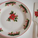 Christmas Cake Plate and Server Holiday Flowers