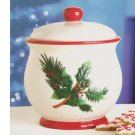 Christmas Cookie Jar Classic Holly White and Red