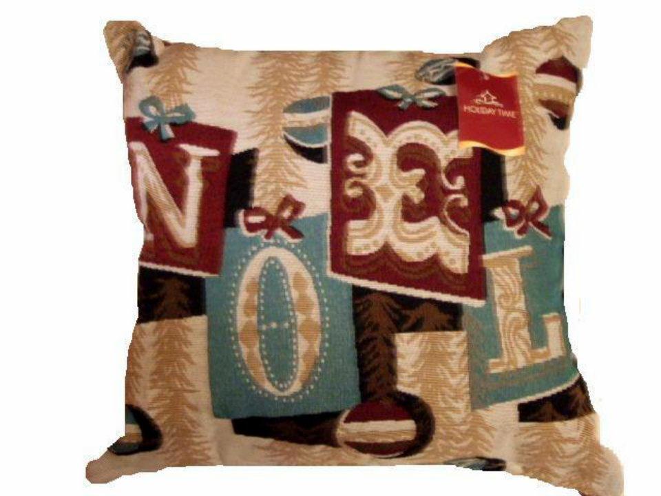 Christmas Tapestry Pillow Noel Trees Trimmings