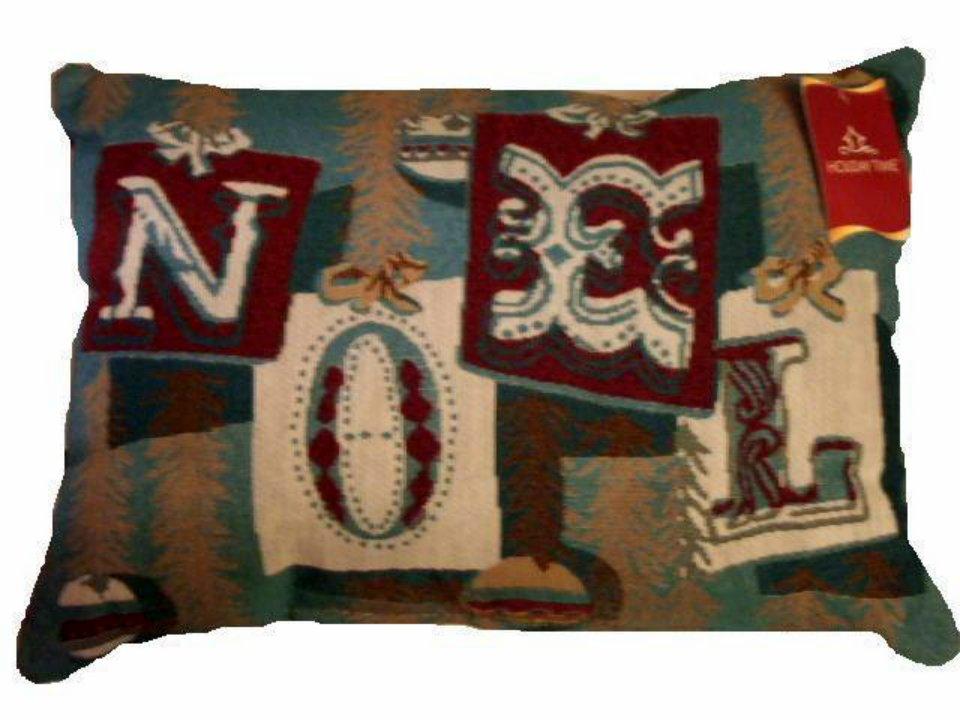 Christmas Pillow Tapestry Noel Trimmings