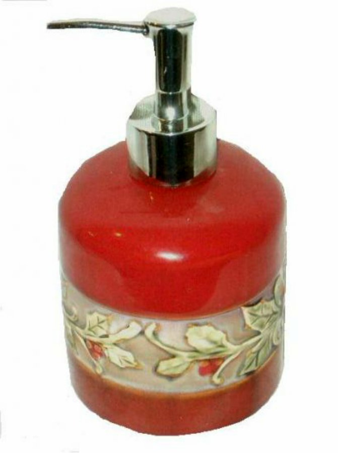 Christmas Holly Lotion Dispenser Or Soap Pump