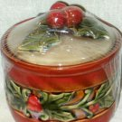 Holly Christmas Canister Ceramic Holiday Kitchen Decor