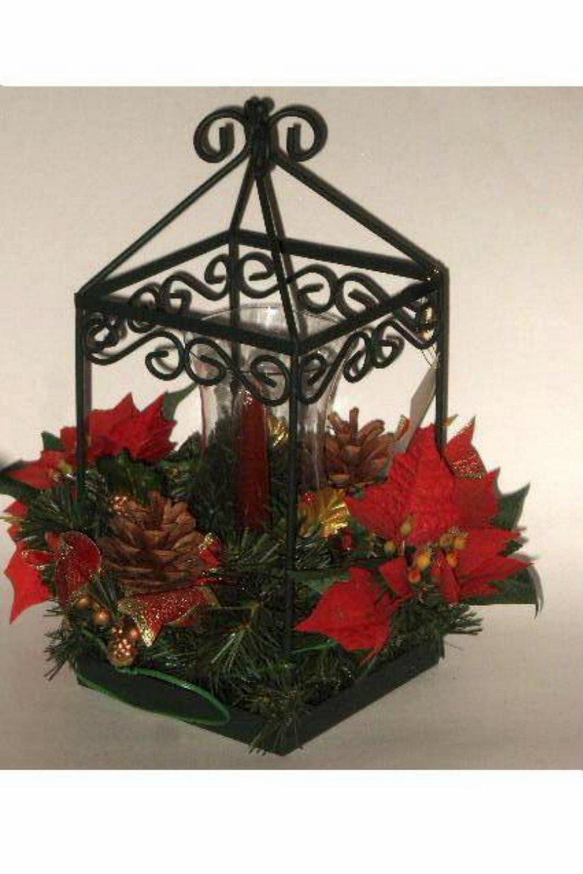 Christmas poinsettia centerpiece tabletop lantern
