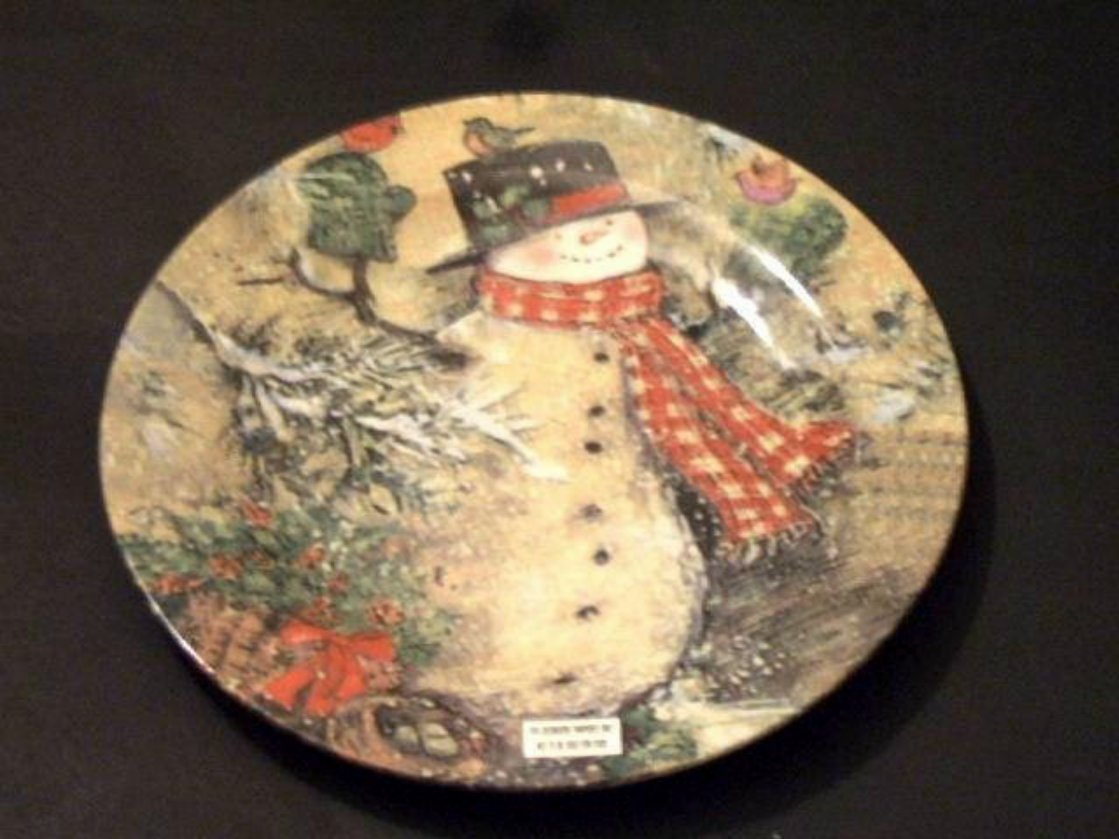 Winter Snowman Decorative Wall Plate
