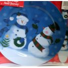 Blue Snowman Cake Plate and Server Holiday Decor