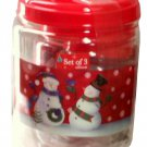3 Kitchen Canisters Snowmen Snowflakes Red