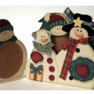 Christmas Snowman Coaster Set Holiday Decor