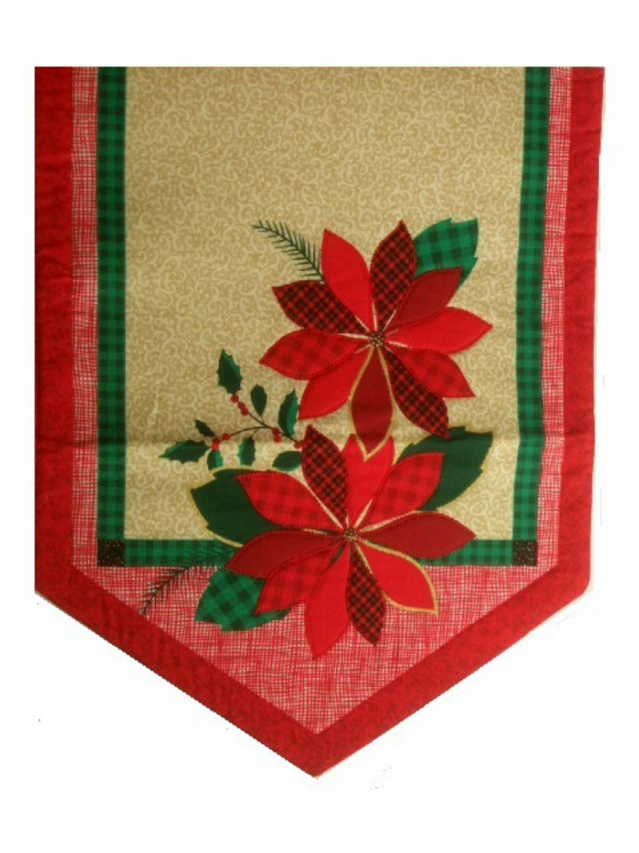 Christmas Holiday Table Runner Poinsettia