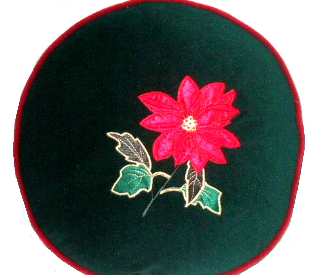 Christmas Pillow Embroidered Holiday Flower Green and Red
