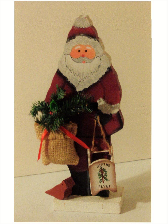 Wood Santa Claus Figurine Holiday Christmas Decor