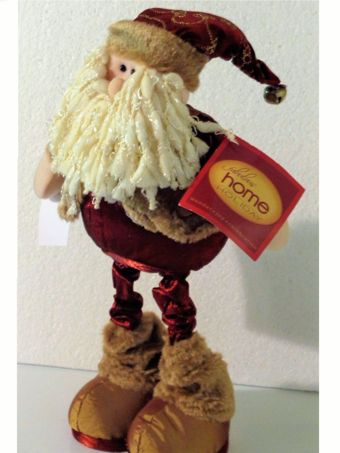 Christmas Figurine Furry Boots Hat with Bell