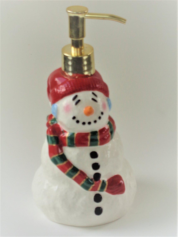 Snowman Lotion Dispenser Soap Dispenser Ceramic Christmas Decor