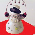 Ceramic Snowman Figurine Candle Holder