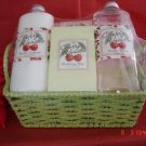 CHERRY VANILLA 4 PC BATH SET IN WOVEN BASKET