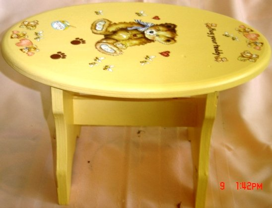 CHILD'S HAND PAINTED HUG YOUR TEDDY BEAR STOOL
