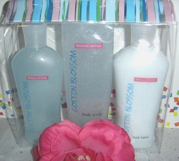 HEALING WATERS 3 PC  BATH SETS W/ 3 DIFFERENT FRAGRANCES
