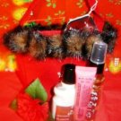 BATH & BODY WORKS 3 PC MINI JAPANESE CHERRY BLOSSOM BATHT SET W/ FELT FUR TRIMMED BAG