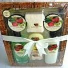 FRUIT HARVEST 7 PC BATH SET W/ SQUARE WOVEN BASKET