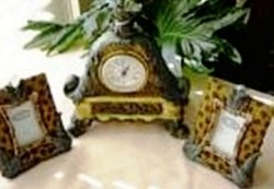 SERENGETTI HOME DECOR DESK CLOCK W/ MATCHING PHOTO FRAMES SET